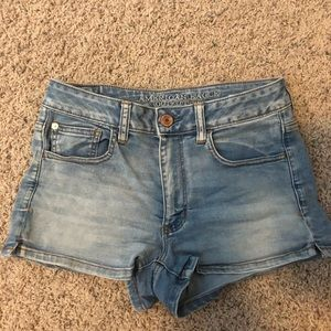 American Eagle Light High Waisted Denim Shorts